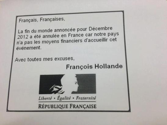 Hollande fin du monde